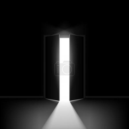 Illustration for Double open door. Illustration on black background for creative design - Royalty Free Image