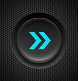 Black button with fast forward sign in blue on carbon background