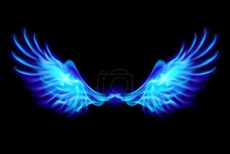 Illustration of blue fire wings on balck backgroun...