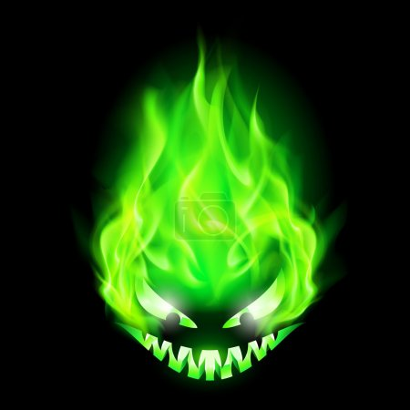 Illustration for Monster head blazing in green on black background. - Royalty Free Image