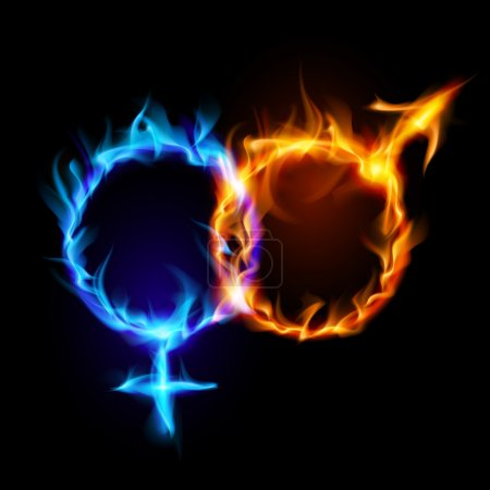 Mars and Venus fire symbols.
