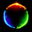 Three fire dragons making colorful circle on black...