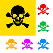 Danger sign of skull and cross bones with color variations