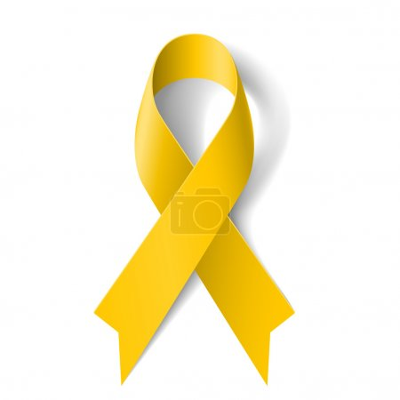 Illustration for Yellow awareness ribbon on white background. Bone cancer and troops support symbol. - Royalty Free Image