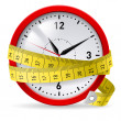 Clock with measuring tape as concept of diet with ...