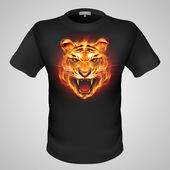 Black male t-shirt with fiery tiger print on grey background