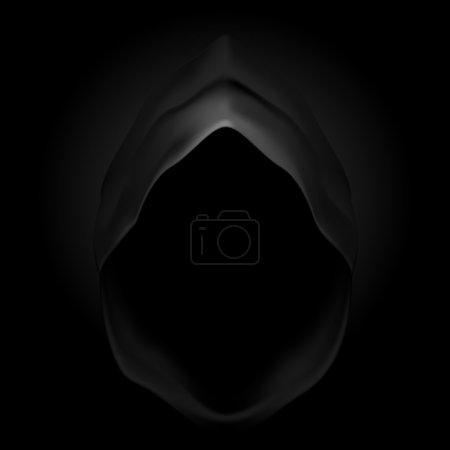Black hood as image of death. Grim Reaper....