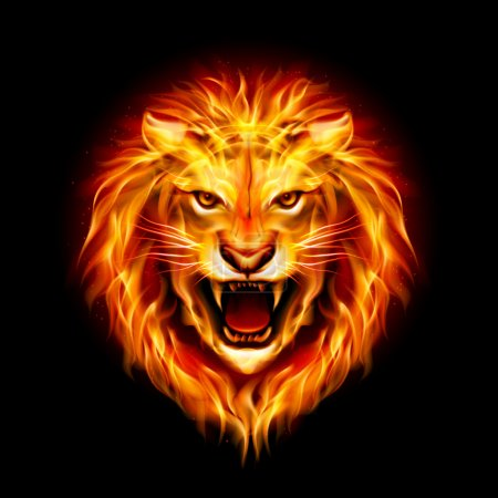 Illustration for Head of aggressive fire lion isolated on black background. - Royalty Free Image