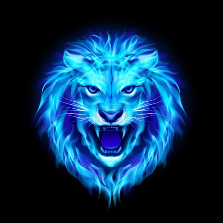 Illustration for Head of aggressive blue fire lion isolated on black background. - Royalty Free Image