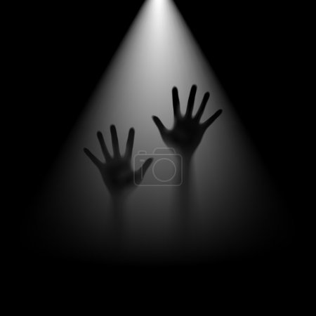 Two hands in backlight. Depression and help concep...