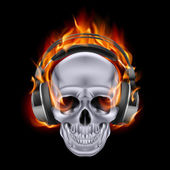 Flaming skull in headphones