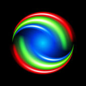 Abstract circular shape of colorful light strokes on black background