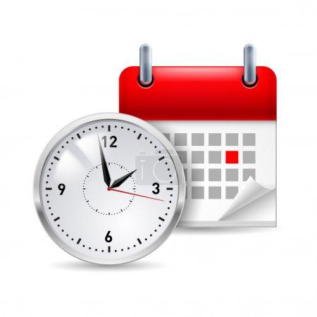 Illustration pour Icône de temps avec calendrier et horloge devant elle - image libre de droit