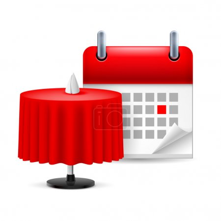 Illustration for Icon restaurant table with red cloth and calendar - Royalty Free Image