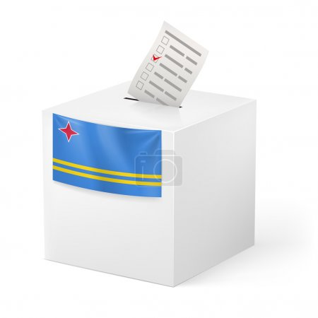 Election in Aruban: ballot box with voting paper o...