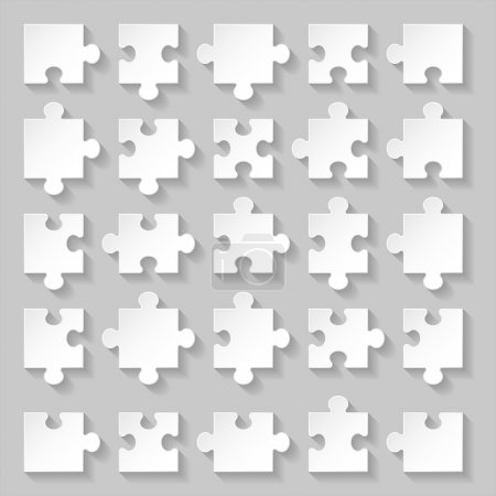 Set of blank white puzzle pieces on grey backgroun...