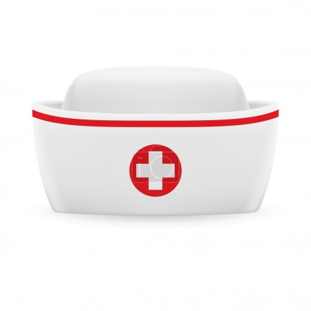 Illustration for White and red nurse cap with on white background - Royalty Free Image