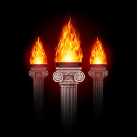 Three ancient columns with fire blazing in darknes...