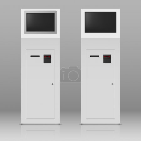 Illustration for Two digital terminals with touchscreen for payment service - Royalty Free Image