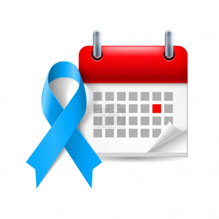 Blue awareness ribbon and calendar