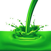 Pouring of green paint with splashes Bright illustration on white background