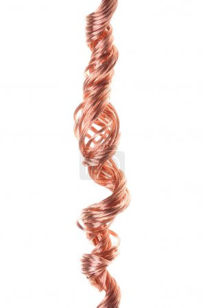 Twisted copper wire isolated on white background...