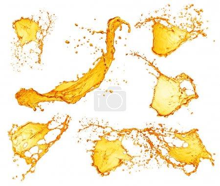 Set of orange water splashes