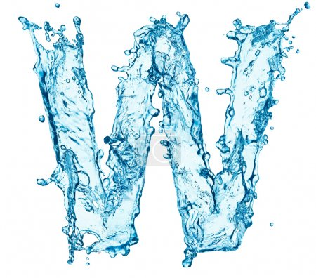 Water splashes letter W