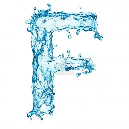 éclaboussures d'eau lettre F