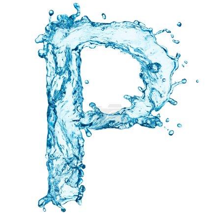 Salpicaduras de agua letra P
