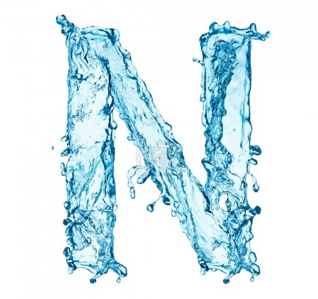 Water splashes letter N