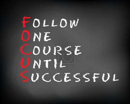 Photo for Conceptual FOCUS acronym written on black chalkboard blackboard. follow One Course Until Successful. Slide template. - Royalty Free Image