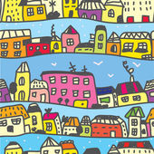 Town seamless pattern funny