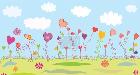 Summer floral background with hearts