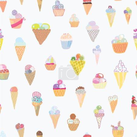 Illustration pour Crème glacée motif sans couture design drôle - ensemble dessiné à la main - image libre de droit