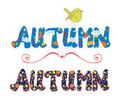 Autumn label for sale or card with floral pattern