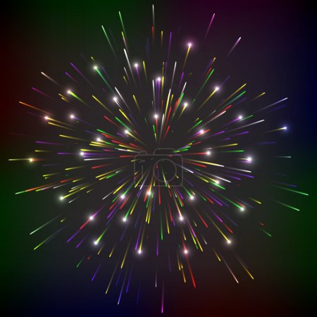 Bright abstract festive fireworks over black background.