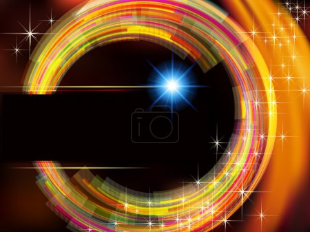 Abstract technology background with fire circle and stars.