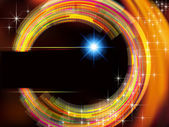 Abstract technology background with fire circle and stars