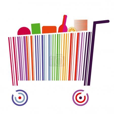 Illustration pour Chariot à code barre - image libre de droit