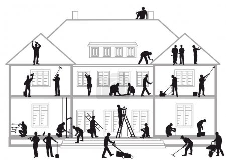 Illustration for Construction workers at work - Royalty Free Image