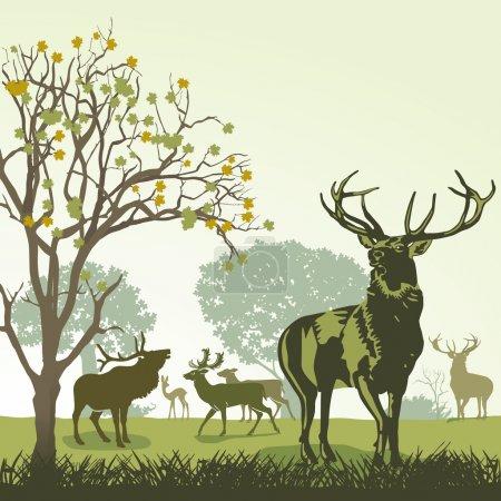 Illustration pour Cerfs et faune en automne - image libre de droit