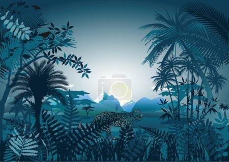 Illustration pour Nuit dans la forêt tropicale - image libre de droit