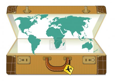 Illustration for World traveling with suitcase - Royalty Free Image