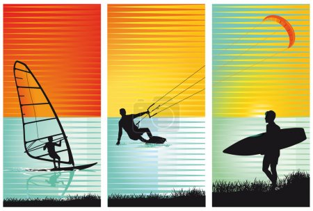 Illustration for Surf, surfing, kiting - Royalty Free Image