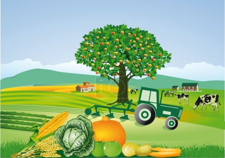 Illustration for Agriculture and harvest, thanksgiving - Royalty Free Image