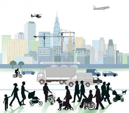 Illustration pour Ville et trafic - image libre de droit