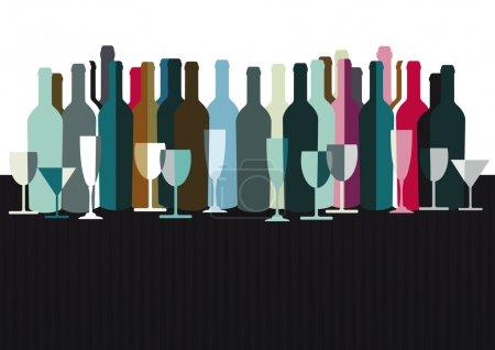 Illustration pour Spiritueux et bouteilles de vin - image libre de droit