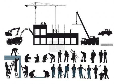 Illustration pour Projet de construction avec travailleurs de la construction - image libre de droit