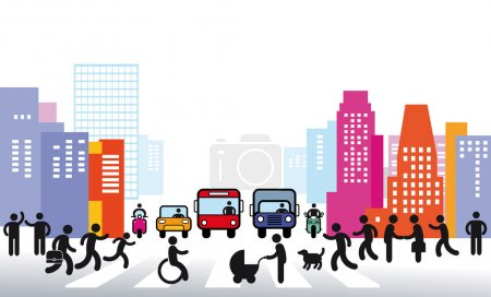 Illustration for City and Traffic - Royalty Free Image